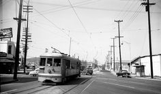 Looking north on N Main Street at Alameda and Ord, 1952 | Old friend Phillippe's French Dip on the left at Ord, LARy 1322 is inbound on N Main Street and Alameda runs way from the camera just to the left of the streetcar.  eBay via NLA e-r
