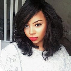 LUFFYWIG Short Bob Human Hair Wig Loose Wave Lace Front Wigs with Side Bangs for Women 8A Mongolian Virgin Glueless Lace Wigs 130 Density 10 Inch *** Continue to the product at the image link.(This is an Amazon affiliate link and I receive a commission for the sales)