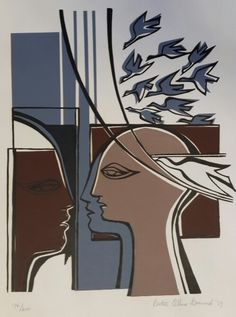View FIGURES AND DOVES By Bettie Cilliers-Barnard; Access more artwork lots and estimated & realized auction prices on MutualArt. South African Artists, Africa Art, Silk Screen Printing, African Design, Various Artists, Prints For Sale, Graphic Prints, Illustration Art, Illustrations