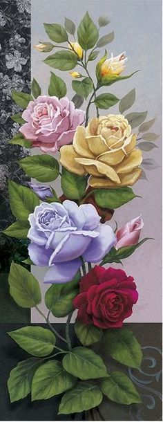Images for creativity . Talk on LiveInt … - Painting Arte Floral, Tole Painting, Fabric Painting, Beautiful Roses, Beautiful Flowers, Vintage Rosen, Rose Art, Flower Pictures, Flower Wallpaper