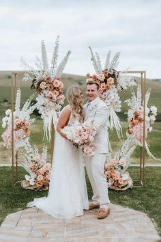 Wedding Ceremony Backdrop Monochrome, Using Mute Colours; Modern Geometric Seacliff House Gerringong Wedding - Katie + Joel - THE EVOKE COMPANY