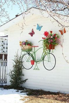 Awesome Inspiration. ☺ A painted bicycle with real basket planter trim.