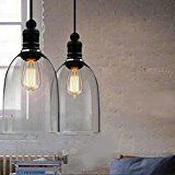 yuewei®New Antique Vintage Modern Industrial Glass Loft Pendant Lamp Retro Ceiling Light Vintage Lamp shade (Glass crystal chandeliers bell) [Energy Class A++] - Industrial Home