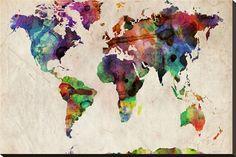 Mapa del mundo, acuarela urbana Reproducción en lienzo de la lámina por Michael Tompsett en AllPosters.es