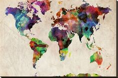 World Map Urban Watercolour Stretched Canvas Print by Michael Tompsett at AllPosters.com