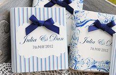 Detalles de boda blanco y azul para una boda junto al mar
