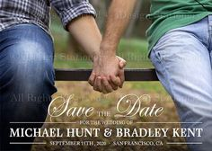 Gay Wedding Photo Save The Date Postcards by iDesignStationery