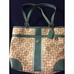 "Classic Coach Handbag - Tan with Teal Accents Coach leather handbag with the Classic ""C"" design. One outside pocket. Phone pocket, other pocket, and zipped pocket inside. Feel free to make an offer if you're interested! Coach Bags Totes"