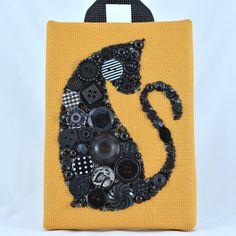 Bouton Art chat noir bouton Vintage oeuvre par PaintedWithButtons
