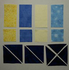 Rectangles, squares and triangles in blue and yellow