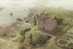 A reconstruction illustration of Ardrossan Castle (1520)