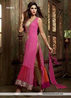 Designer Hot Pink Pleasing Straight Salwar Suit