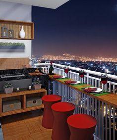 Bancada suspensa para uma varanda pequena: ótima ideia para quem não tem espaço para colocar uma mesa.  http://www.proprietariodireto.com.br