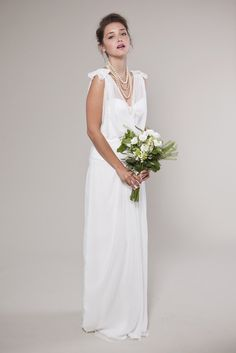 1920's Inspired Wedding Dress:  V-neck Chiffon Top