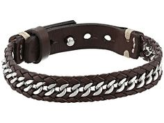 Fossil Chain and Leather Bracelet Silver/Brown - Zappos.com Free Shipping BOTH Ways