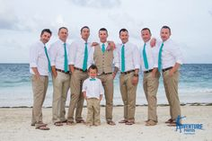 Groom & Groomsmen Picture - Adorable ring bearer outfit! - Teal Wedding - Destination Wedding - Now Sapphire Riviera Cancun, Mexico.