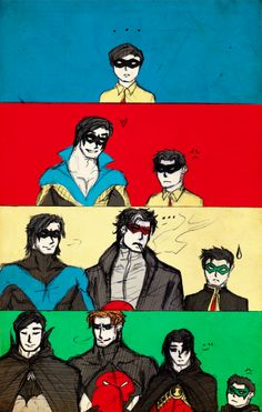Dick is the happy one, Jason is the troubled one, Tim is the silent, brooding one, and Damian is the rebel.