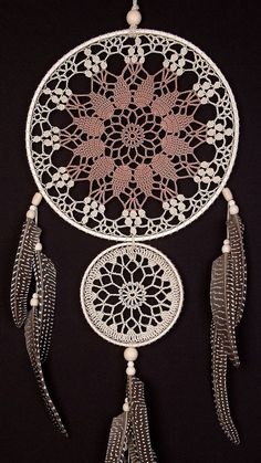 Large Beige Brown Doily Dream Catcher, Crochet Doily Dreamcatcher boho style, wall hanging, wall decor, handmade dreamcatcher, lace dreamcatchers, stylish design.  It will defend you and your family from bad dreams and fight against evil spirits trying to creep into your house at night because they will become confused and tangled in its web. It brings love, light and positive energy and allows only your good dreams to slip down the feathers to bless you while youre sleeping. The bad dreams…