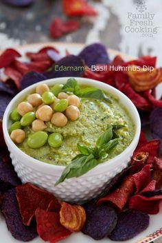 Edamame Basil Hummus Dip | Gluten Free & Vegan Recipe on FamilyFreshCooking.com