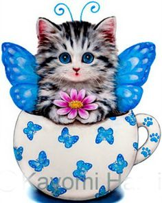 Butterfly Kitty Cup Cross Stitch Pattern to print online. Cross Stitch Beginner, Cute Cross Stitch, Counted Cross Stitch Patterns, Cross Stitch Embroidery, Cute Animals Images, Cat Coloring Page, Butterfly Cross Stitch, Cross Stitch Pictures, Cat Crafts
