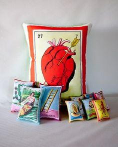 12 Days of Christmas: Day 9 Mexican Loteria Pillow Set! Mexican Bedroom, Mexican Home Decor, Mexican Crafts, Mexican Interior Design, Mexican Designs, Mexican Christmas, 12 Days Of Christmas, Mexican Party, Mexican Style