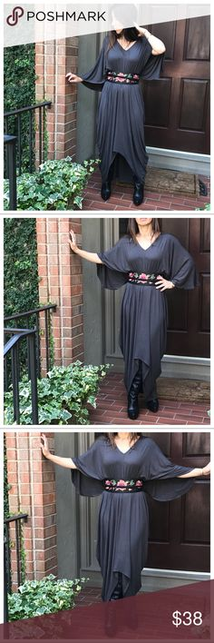 Ash grey caftan dress Ash grey  Loose fit high low caftan style dress this is a loose fit has a small elastic waist band ( belt sold separately) measurements bust laying flat on one side S 20 M 21 L 22 XL 23 length S 56 M 57 L 57.5 XL 58 this dress is gorgeous Dresses