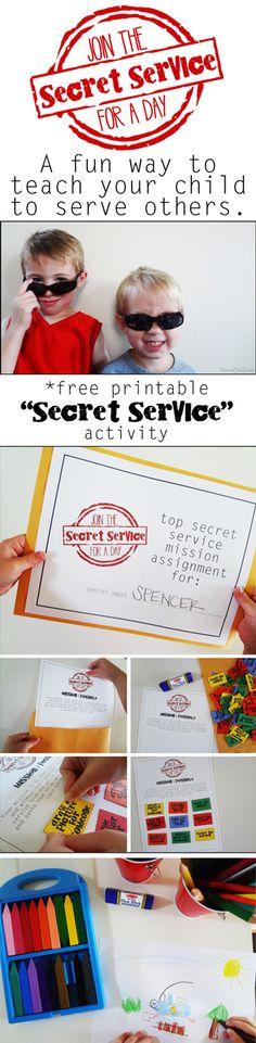 "Easily adaptable for the classroom....{The ""Secret Service"" Activity: A Lesson in Kindness} *Free activity printables"
