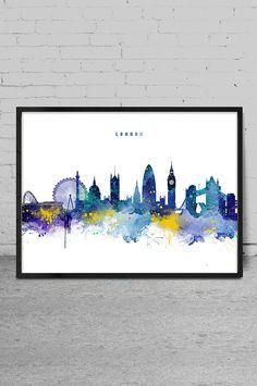 London Skyline Watercolor Art Print London Wall Art by MyVisualArt