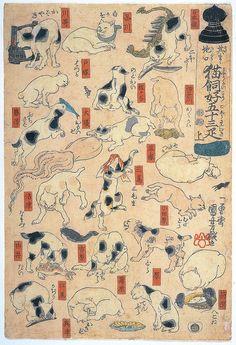 "Fifty-three Cats as Puns for the Names of the Stations on the Tokaido Road    #Ukiyo-e 浮世絵 by #Utagawa #Kuniyoshi.歌川国芳(1798-1861)  Displayed in ""Kuniyoshi: Spectacular Ukiyo-e Imagination"""