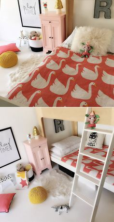 swan blanket coral bedroom