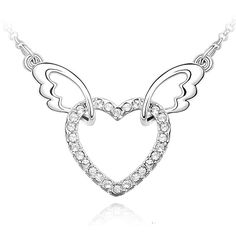 Rarelove alloy plated white k gold necklace 6.1g, Austrian white angel wings heart-shaped crystal pendants