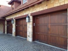 So your garage doors might not be the most glamorous part of your home's exterior, but they deserve some attention! When you think about how much space the front of your garage doors take up, you realize just how much… Continue Reading → Cheap Garage Doors, Wooden Garage Doors, Garage Door Design, Timber Garage, Bungalow, Garage Boden, House Ideas, Shops, Next At Home