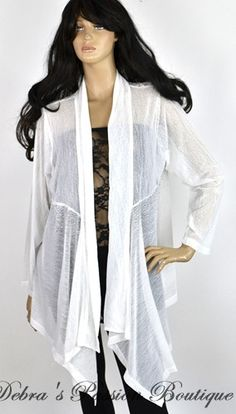 8bd12efbb06 White Sheer Rhinestones Long Plus Cardigan - Lady Noiz - Debra s Passion  Boutique - 1 White