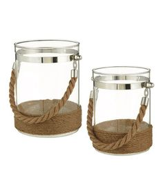 Another great find on #zulily! Rope Container Décor - Set of Two #zulilyfinds  GREAT WITH YOUR OWN SAND AND SHELLS OR SEA GLASS GEMS IN THEM. YOU'LL SEE THEM FURTHER DOWN. 24.99