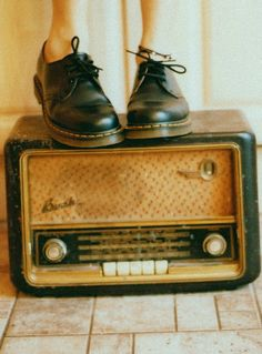 doc martens and vintage radio. I can't believe my mom found a pair of these in my size for $7 at a thrift store!!!!