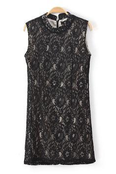Black Stand Collar High Waist Sleeveless Lace Dress