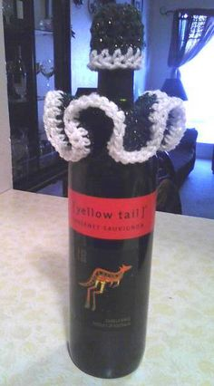 Crochet Christmas Wine Bottle Cozy/Decoration **bottle not included