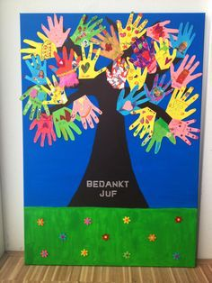 Thank you teacher/ Bedankt juf! Paint a tree on a large canvas with acrylic… Thank U Cards, Thank You Gifts, Your Teacher, Teacher Gifts, Farwell Gifts, Summer Crafts, Crafts For Kids, Painting Glass Jars, Leaving Cards