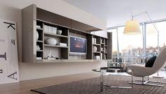 20 Modern Living Room Wall Units for Book Storage from Misuraemme : 20 Modern Living Room Wall Units With White Brown Wall Wooden Books Storage Lamp Sofa Carpet Window Hardwood Floor