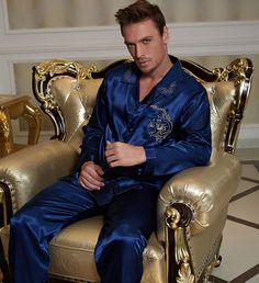 Nightgowns For Men Women Blue Sleepwear Satin Pajamas Lounge Embroidery Lovers Nightwear Pyjama Satin, Satin Pajamas, Night Suit, Night Gown, Peignoir Satin, Pyjamas, Men's Robes, Pajama Suit, Smoking Jacket
