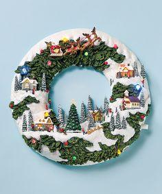 Musical Christmas Wreath Village Scene - Music Box
