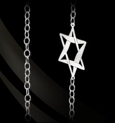"""Sterling Silver Star of David on a 36"""" link chain with toggle closure. by Jane Basch"""