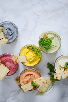 6 shades of hummus - 6 shades of hummus, a colorful aperitif! Brunch Cake, Brunch Buffet, Brunch Party, Birthday Brunch, Birthday Parties, Easy Brunch Recipes, Healthy Brunch, Breakfast Recipes, Brunch Foods