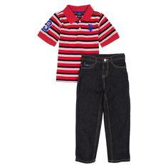 US Polo Assn Little Boys Short Sleeve Polo and Jeans 2-Piece Set