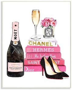 Stupell Industries Glam Pink Fashion Book Champagne Hells and Flowers Wall Plaque Art, Chanel Wall Art, Moet Chandon, Fashion Wall Art, Graduation Pictures, Graduation Ideas, Pink Champagne, Champagne Heels, Oui Oui, Fashion Books
