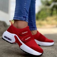 2021 Women Fashion Vulcanized Sneakers Platform Solid Color Flats Ladies Shoes Casual Breathable Wedges Ladies Walking Sneakers Zapatos Color Beige, Beige Shoes, Baskets, Gris Rose, Red Sneakers, Sports Shoes, Casual Shoes, Athletic Shoes, Ladies Shoes