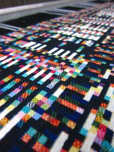At the Textielmuseum's TextielLab in Tilburg, NL (by Phillip Stearns)  Beautiful fabric made from data representing computer memory