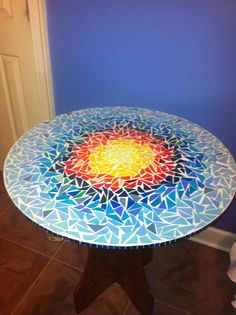 Paper mosaic table top