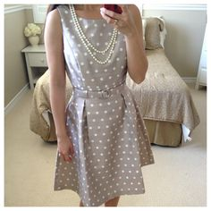 Belted polka dot dress with pearls - OOTD // StylishPetite.com