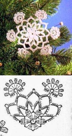 Crochet Snowflake Pattern, Crochet Motif Patterns, Crochet Stars, Crochet Snowflakes, Crochet Mandala, Crochet Flowers, Crochet Christmas Ornaments, Christmas Snowflakes, Christmas Art